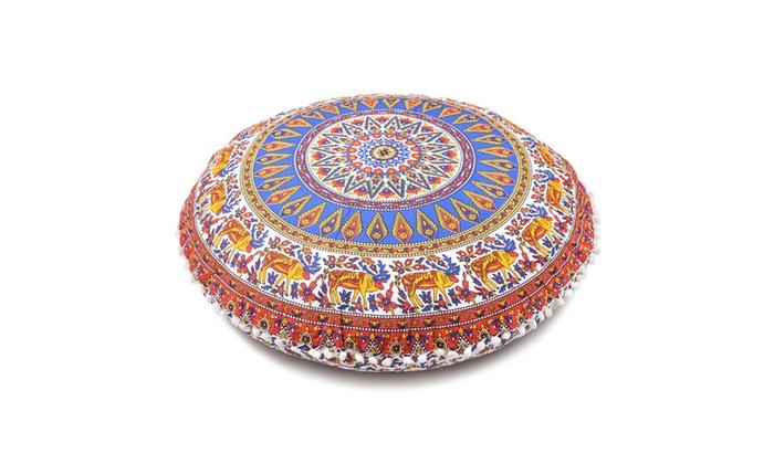 Large Throw Decorative Floor Pillow Cushion Cover Mandala Groupon Inspiration Large Decorative Floor Pillows