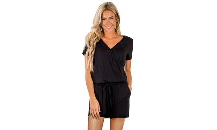 Women's Black/Blue/Green Casual Loose Short Sleeve Romper with Pockets Was: $63.48 Now: $16.99.