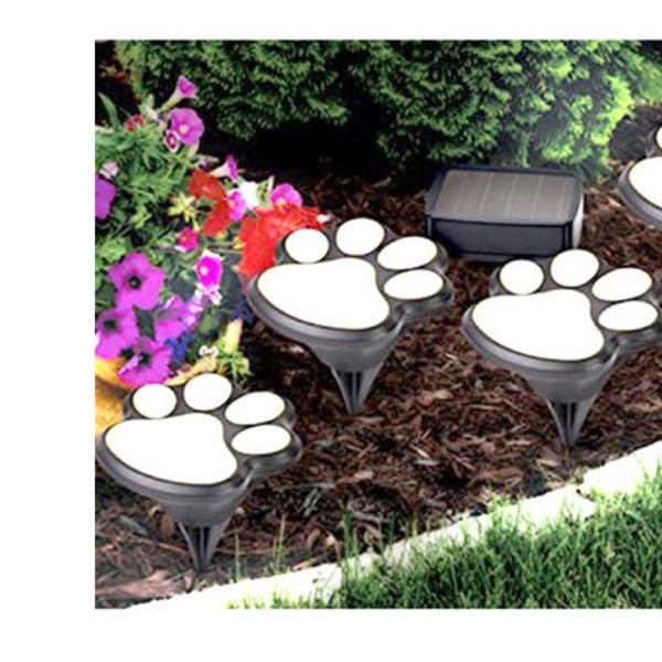 4Solar Cat Animal Paw Print Lights Garden Outdoor Lantern LED Path Lamps Decor