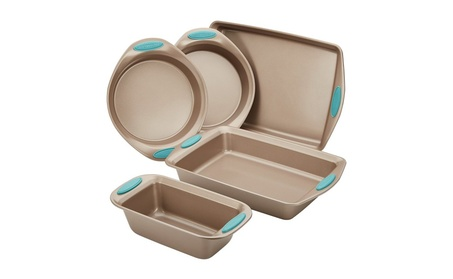 Rachael Ray Nonstick Bakeware 5-Piece Set, Latte Brown with Agave