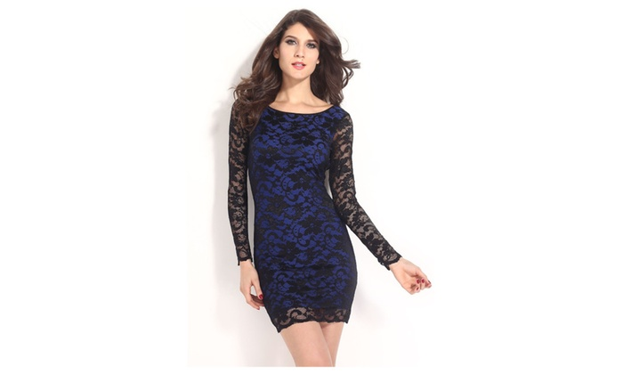 Women's Blue Thrilling Beaded Lace Dress - Blue / one size