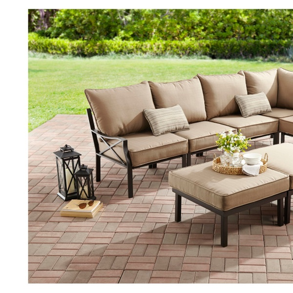 Mainstays Sandhill 7-Piece Outdoor Sofa Sectional Set, Seats 5