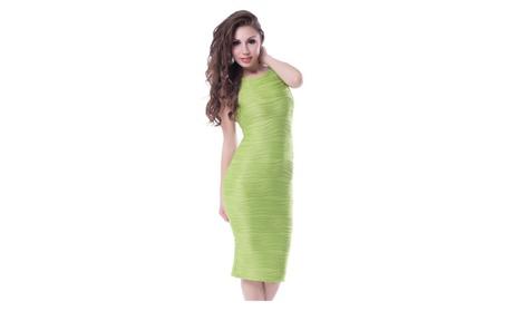 Women's Sleeveless Green Elegant Midi Dress 67221207-b160-4870-be73-391d081f72e4