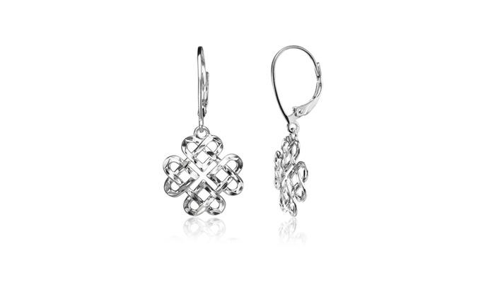 Sterling Silver Diamond Cut Irish Celtic Heart Love Knot Leverback Earrings