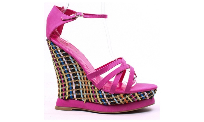 Fuchsia Faux Leather Strappy Color Woven Platform Wedge Heel