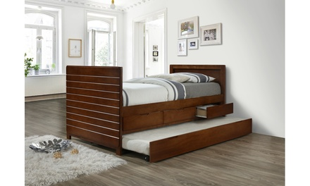 Youth Kids Twin Size 3-drawer Captain Bed with pull-out Trundle