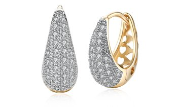 Valentines Crystal Pav'e Earrings Set in 18K Gold By Golden NYC Jewelry