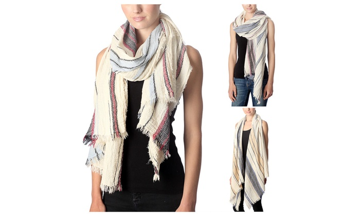 Women's Thick and Thin Stripe Color Accent Lightweight Spring Scarf
