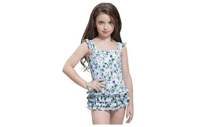 Girls Princess One Piece Swimsuit Swimwear Bathing Suit With Carry Bag