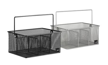 4 Compartment Condiment Organizer and Flatware Utensil Caddy - (Black or Silver)