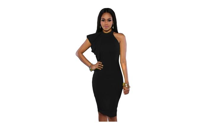 Women's Black One Shoulder Ruffle Sleeve Midi Dress