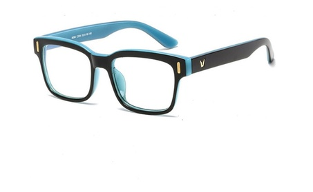 Clear Lens Teal Blue Black Computer Gaming Glasses Anti Blue UV Light c5444899-4339-46f0-9d83-8a57624a8007