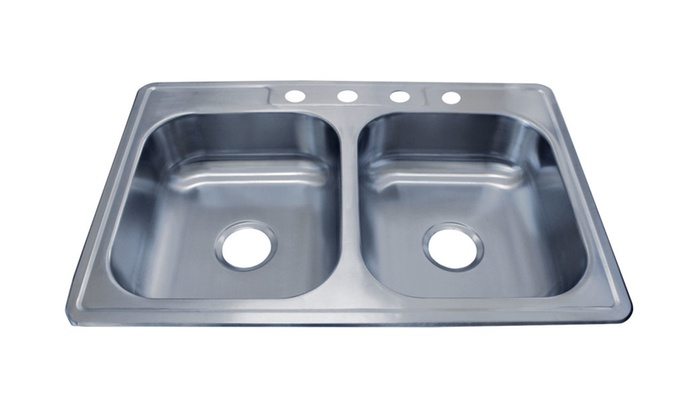 Top Mount Stainless Steel Sink   Double Bowl