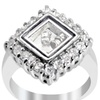 Orchid Jewelry Cubic Zirconia 925 Sterling Silver Square Ring