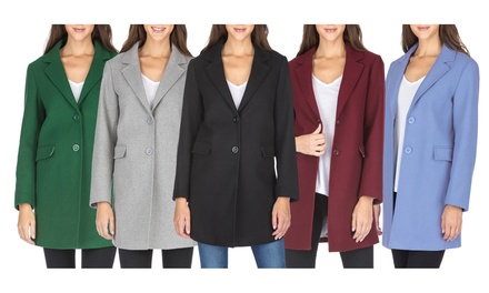 Haute Edition Women's Wool Blend Single Breasted Coats with Plus