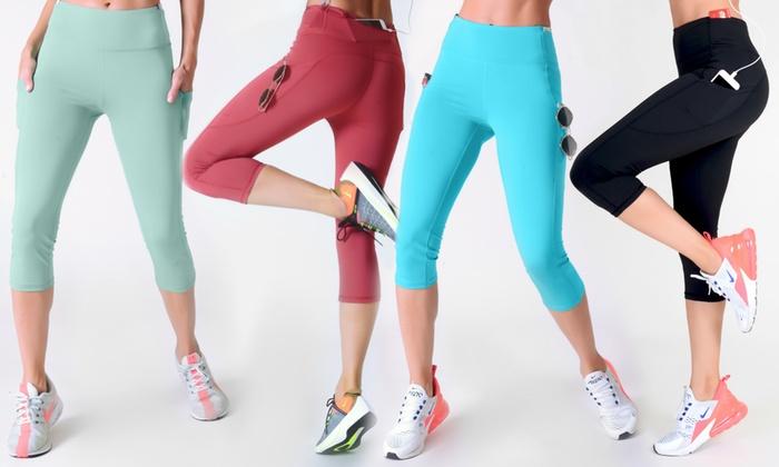 8a9ed047febfa Style Clad Women's High Waist Tummy Control Active Capri Leggings - 5  Pockets