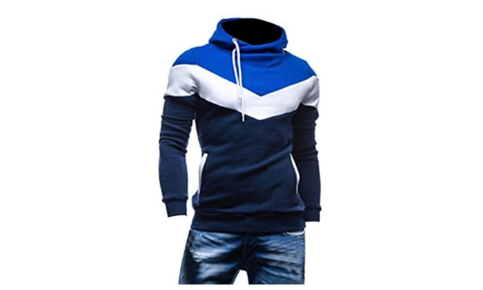 HUASHI Men's Color Matching Pullover Heaps Collar Napping Hoodies - Navy/White/Blue / XXXX-Large