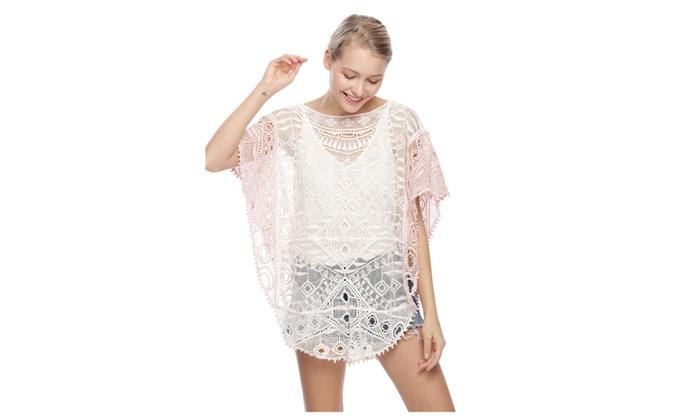 Women's Two Tone Crochet Top