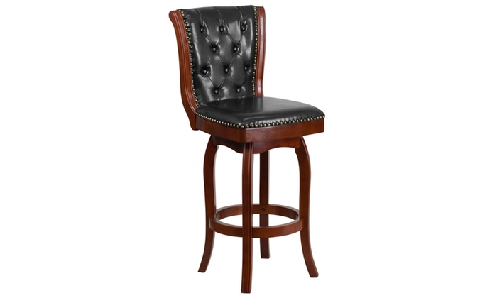 30 High Cherry Wood Barstool With Black Leather Swivel