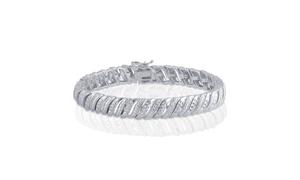 Gold Plated Diamond Accent Double Row Bracelet - KB17613