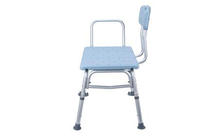 Bath Shower Chair Plastic Tub Transfer Bench with Adjustable Backrest Blue