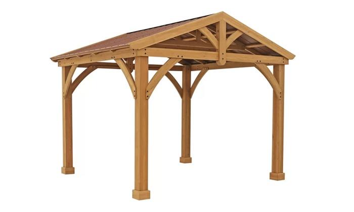 avery pavilion 10 ft w x 12 ft d wood permanent gazebo groupon