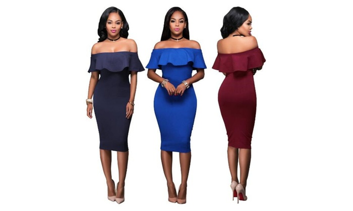 3d37d13d59dd Women Off Shoulder Dress Vintage Ruffle Tight Wrap Party Dresses ...