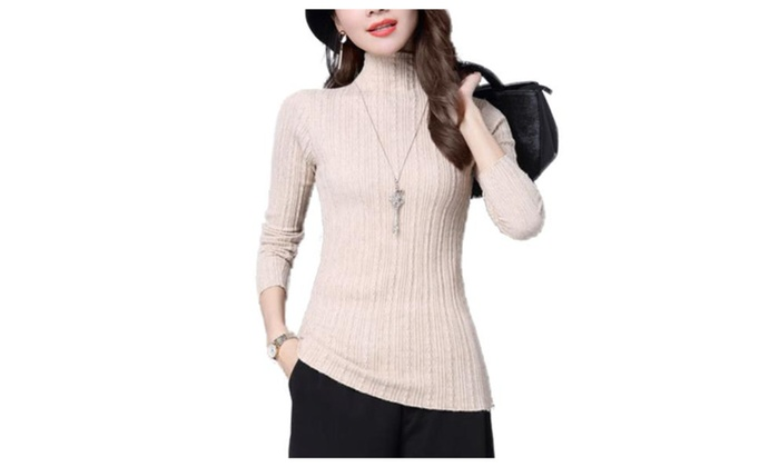 Women's/Ladies Straight Hem Casual Solid Pullovers Sweater