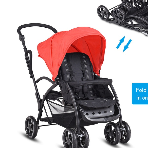 Folding Baby Sit and Stand Ultra Tandem Stroller Pushchair Double Kids Black
