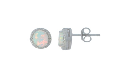 Opal & Diamond Round Stud Earrings 14Kt White Gold & Sterling Silver