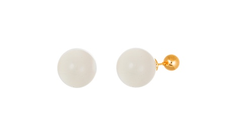 Gold-Tone Stainless Steel Polished Ball Cat Eye Ball Front to Back Earring d8e39573-b84f-41ec-8889-a0ca4739a5b3