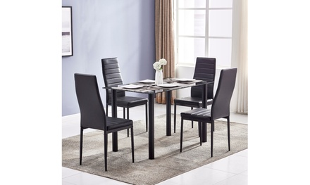 DA154 Simple Round Tube Table Set with 4pcs Texture High Backrest Dining Chairs