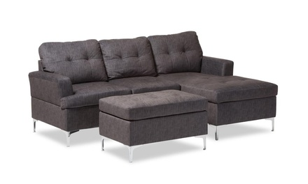 Riley Grey Fabric Upholstered 3-Piece Sectional Sofa with Ottoman Set