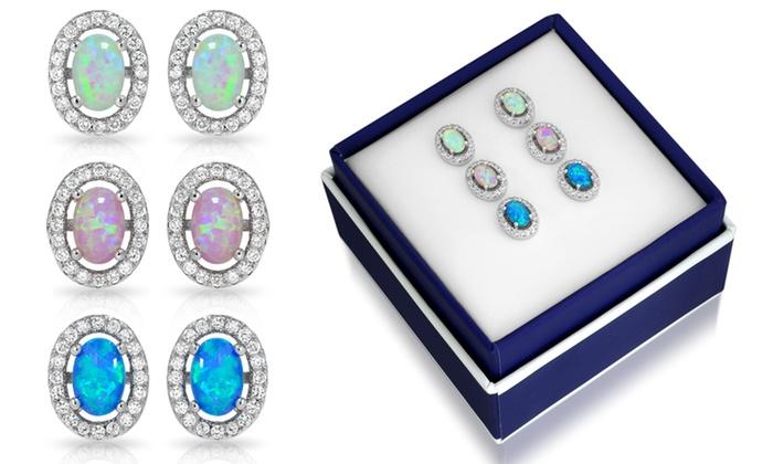 3 00 Ctw Oval Halo Opal Stud Earrings Set By Muiblu Gems Pairs