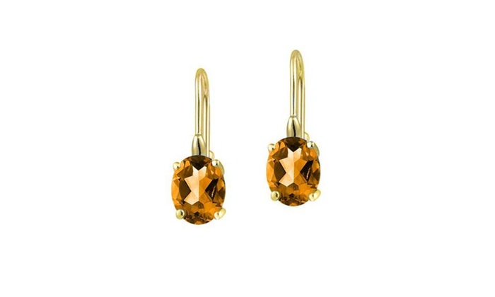2 Ct Citrine /& Diamond Oval Stud Earrings 14Kt Yellow Gold Plated