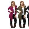 Women Shawl Long Sleeve Asymmetric Knit Long Cardigan Outerwear