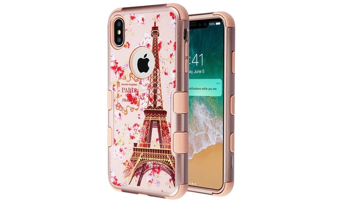 For Iphone Xs Max Rose Gold Paris In Full Bloom Hard Hybrid Case