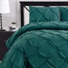 Teal Luxury Oxford Pinch Pleated Comforter Set With Bed Skirt
