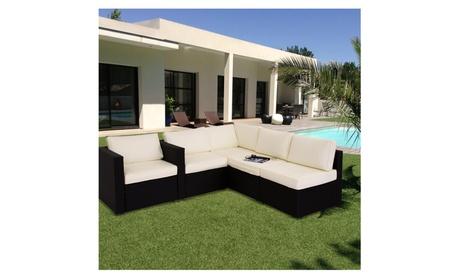 5Pcs Garden Furniture PE Rattan Wicker Sofa Sectional Cushioned Couch 2c5e6f22-e89a-4dcd-b80b-343585f796b5