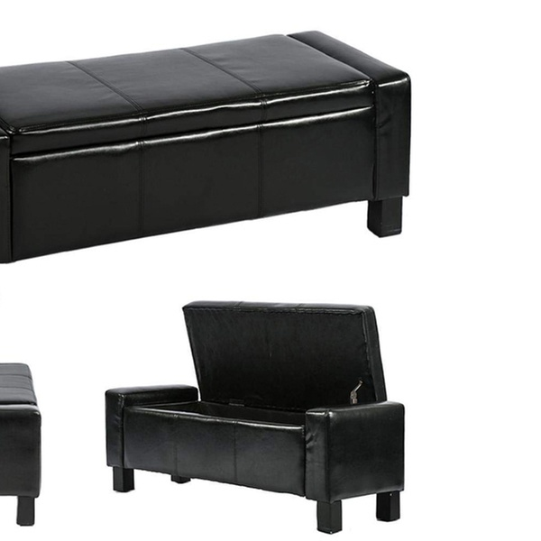 Ottoman Storage Ottoman Bench Bedroom Bench with Faux Leather Rectangular  42\