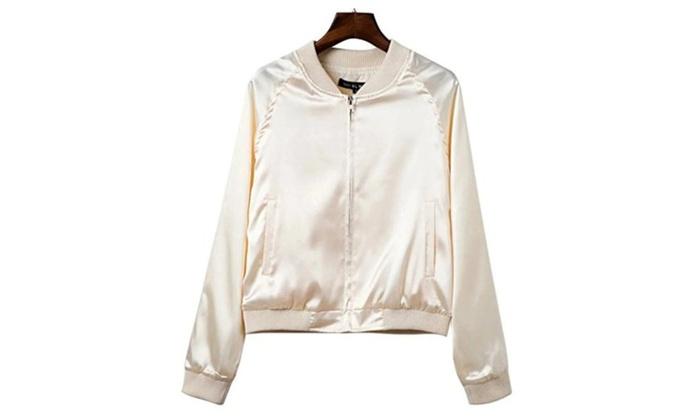 Women's Stylish Zip Up Bomber Jacket Silk Jacket