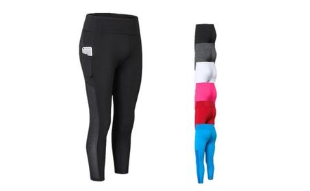 Women Side Pocket Yoga Pants Breathable High Waist Sportswear