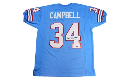 Autographed Earl Campbell Houston Oilers Custom Jersey Blue FHS160 (Goods  Entertainment Collectibles Sports Football) ec3b7bfc2