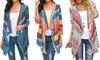 Women Popular 3/4 Sleeve Open Front Draped Striped Printed Kimono Loose Tunic