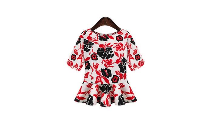 Women's Print Chiffon Sleeved Red Shirt - TCWSB702-TCWSB701