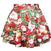 Women's Flared Stretch Soft Pleated Mini Santa Claus Skater Skirt