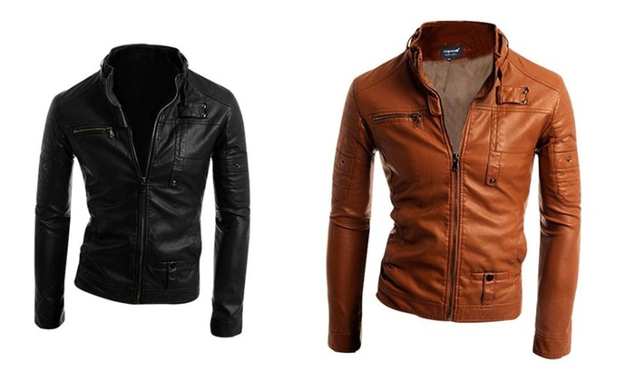 Mens Fashion Clothing Stand Collar Long Sleeve Leather Jacket