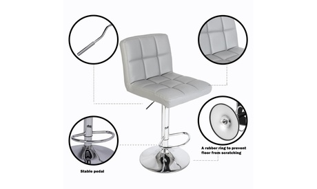 Set of 2 Adjustable Swivel Bar Stools PU Leather Pub Chairs with Back Gray
