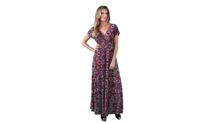 24/7 Comfort Apparel Women's Jagged Paisley Printed Maxi