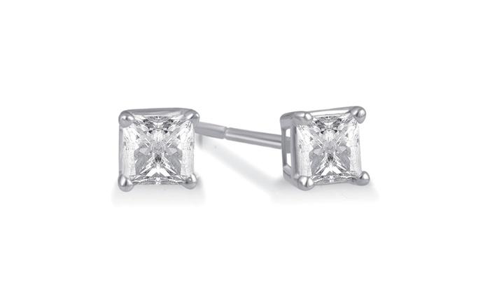 0 50 Cttw Princess Diamond Stud Earring In 14k White Gold Gerstudpr50w